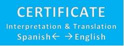 Certificate Interpretation & Translation Spanish -> English